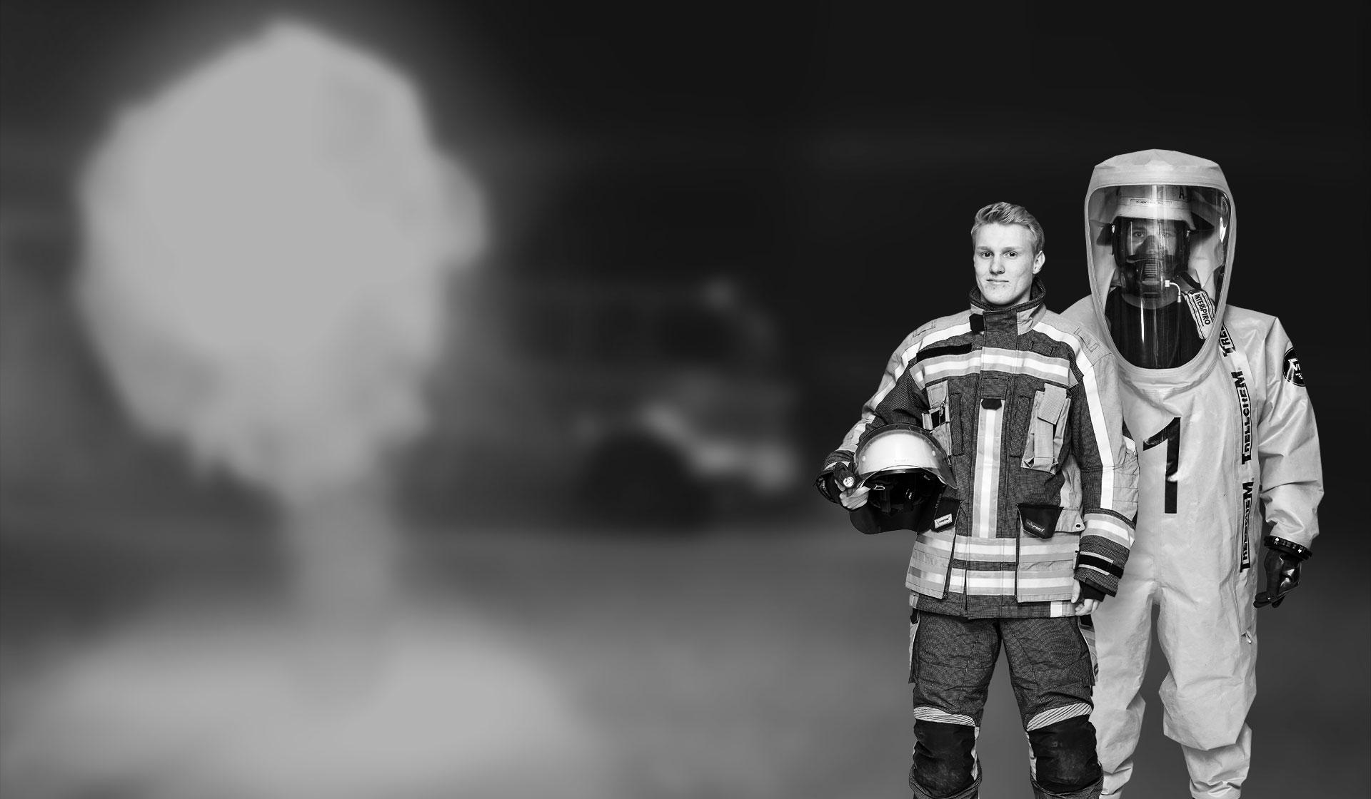 Feuerwehrmann Chiemievollschutz Anzug Explosion
