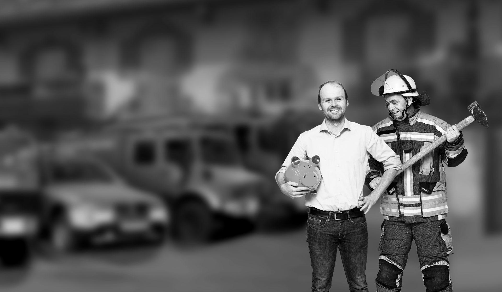 Feuerwehr Fahrzeuge Mann mit Sparschwein Feuerwehrmann